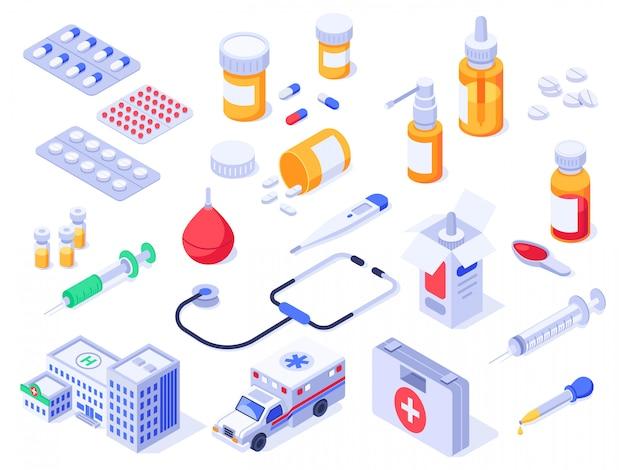 Изометрическая аптечка. медицинские таблетки, аптечные лекарства и бутылки с лекарствами. больничная скорая помощь установлена Premium векторы