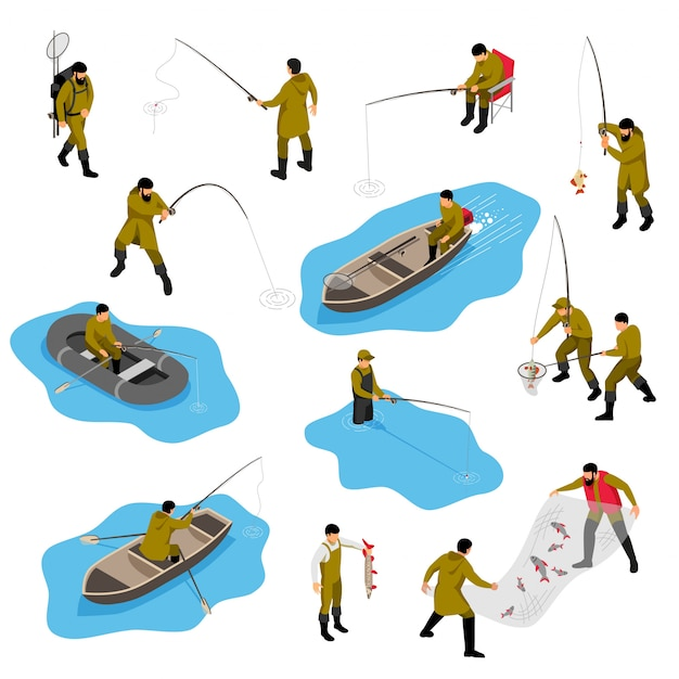 Isometric fisherman set with isolated human characters of piscators in different situations with boats and tackle Free Vector