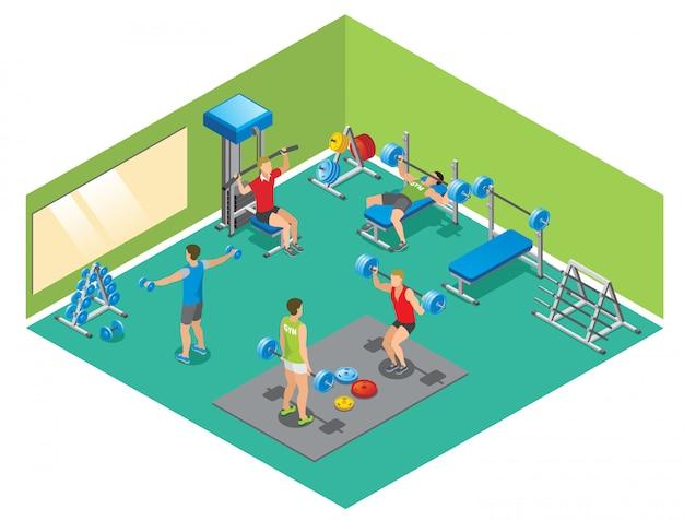 고립 된 체육관에서 아령과 아가씨를 들어 올리는 강한 사람들과 아이소 메트릭 피트니스 개념 무료 벡터
