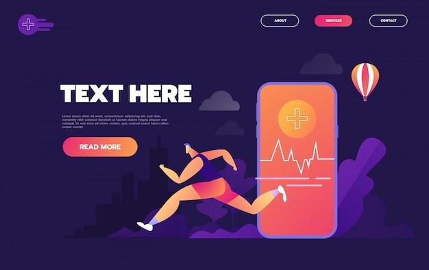 Изометрическая плоская концепция фитнес-трекера, умных часов, смартфона, спорта и здорового образа жизни, -, Premium векторы