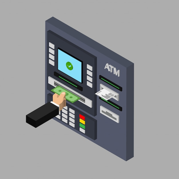 Isometric flat design of atm machine isolated on grey background. withdrawing money Premium Vector