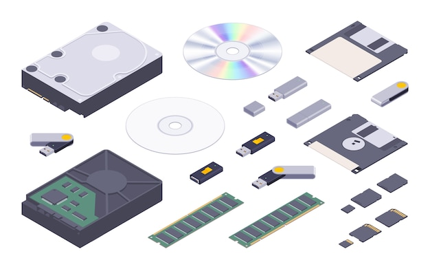 Isometric flat digital memory storages set Premium Vector