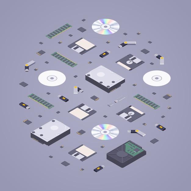 Isometric flat digital memory storages Premium Vector