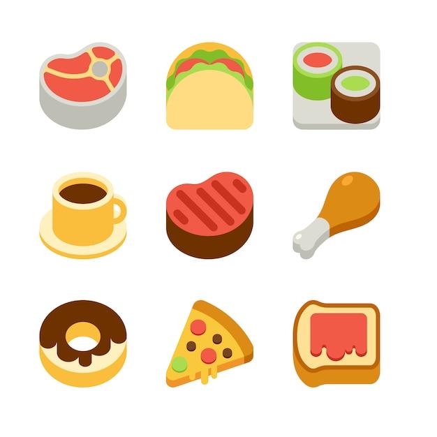 Isometric flat food icons Premium Vector