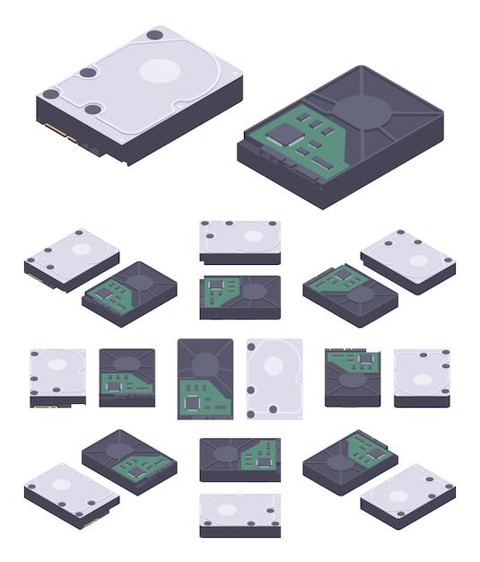 Isometric flat hdd, hard drive disk Premium Vector