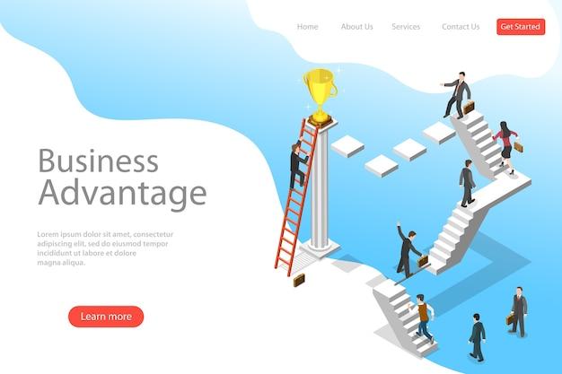 ビジネスの利点、リーダーシップ、革新的な思考、創造的なアイデアの等尺性フラットランディングページテンプレート。 Premiumベクター