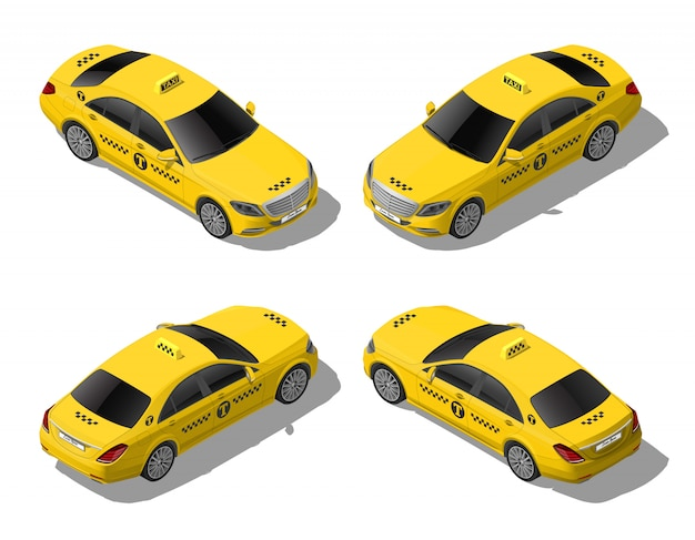 Isometric flat yellow taxi car set. business or vip city transport service. high quality detailed illustration isolated on white background Premium Vector