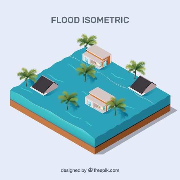 Progettazione di un concetto di inondazione isometrica Vettore gratuito