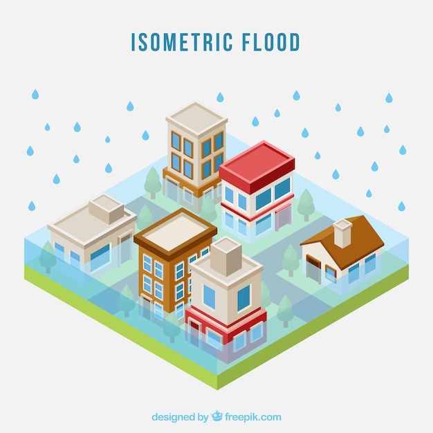 Concetto di inondazione isometrica Vettore gratuito