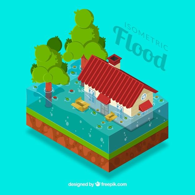 Alluvione isometrica Vettore gratuito