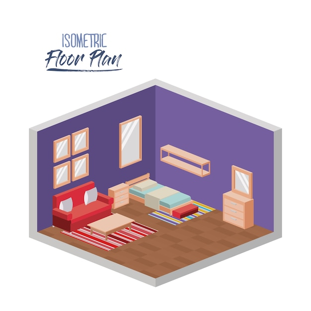 ベッドルームの等尺性平面図 Premiumベクター