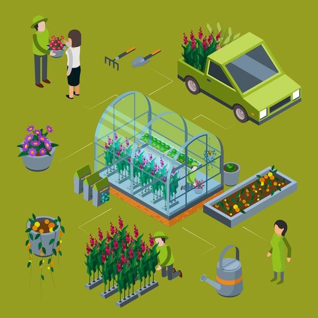 Isometric flower farm concept. floristic 3d illustration Premium Vector