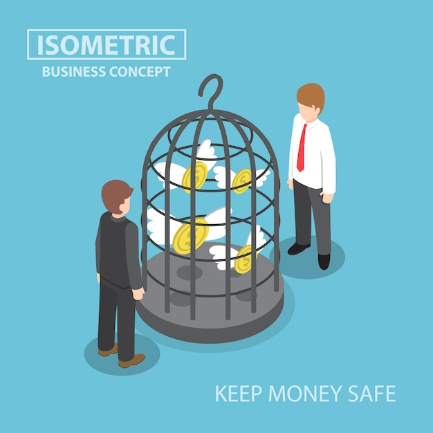 Isometric flying dollar trapped in bird cage Premium Vector