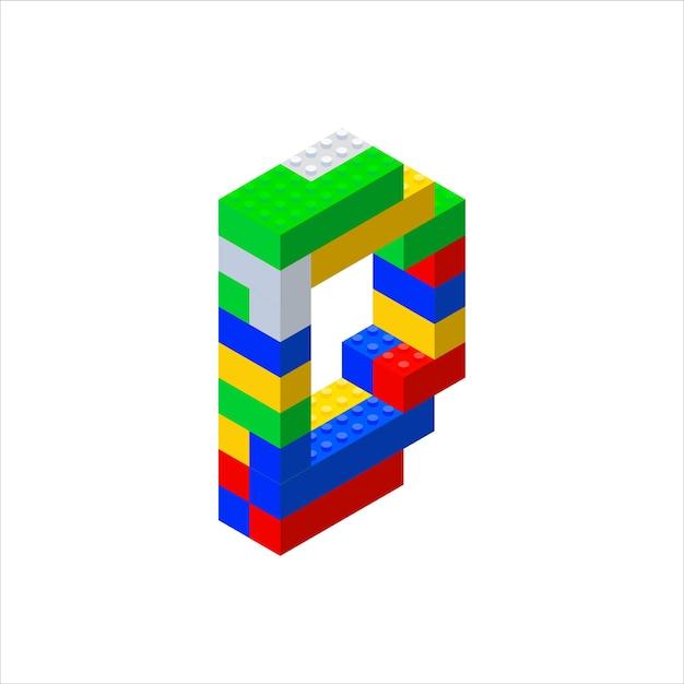 カラープラスチックブロックから作られたアイソメトリックフォント Premiumベクター