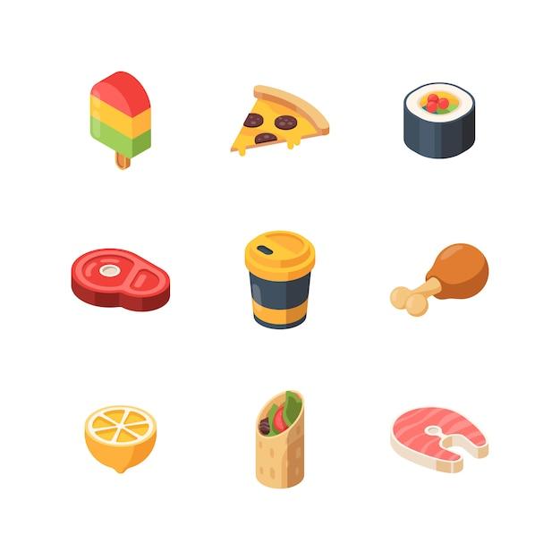 等尺性食品。寿司食事パン果物魚低ポリウェブサイトアイコン Premiumベクター