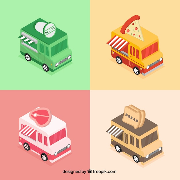 Isometric food truck collection