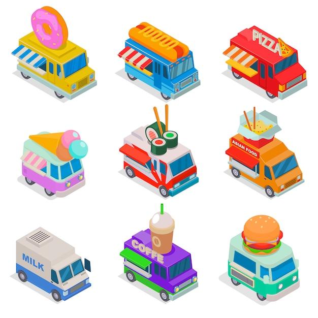 아이소 메트릭 음식 트럭 그림, 시장에서 거리 트럭, 트럭 음식 3d 격리 된 아이콘 흰색 배경에 설정 프리미엄 벡터