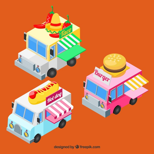 Isometric food truck with fast food