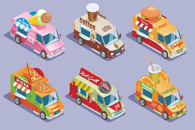 Коллекция изометрических фургонов для продажи и доставки мороженого, кофе, гамбургеров, пиццы Бесплатные векторы
