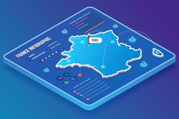 等尺性フランス地図インフォグラフィック 無料ベクター