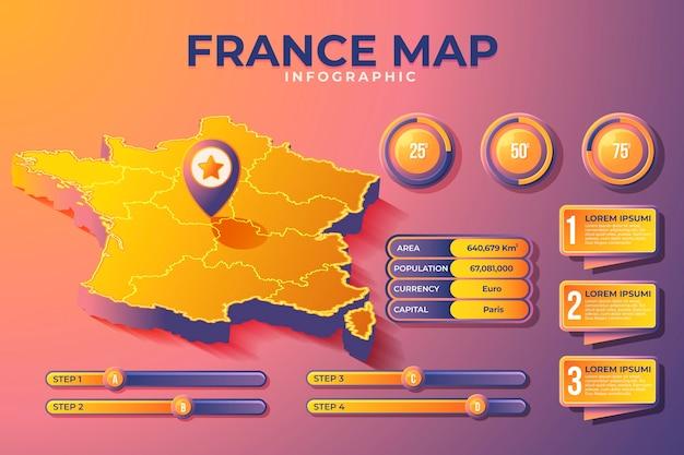 Mappa isometrica della francia infografica Vettore gratuito