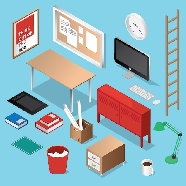 isometric office furniture vector collection. Isometric Furniture Collection Free Vector Office .