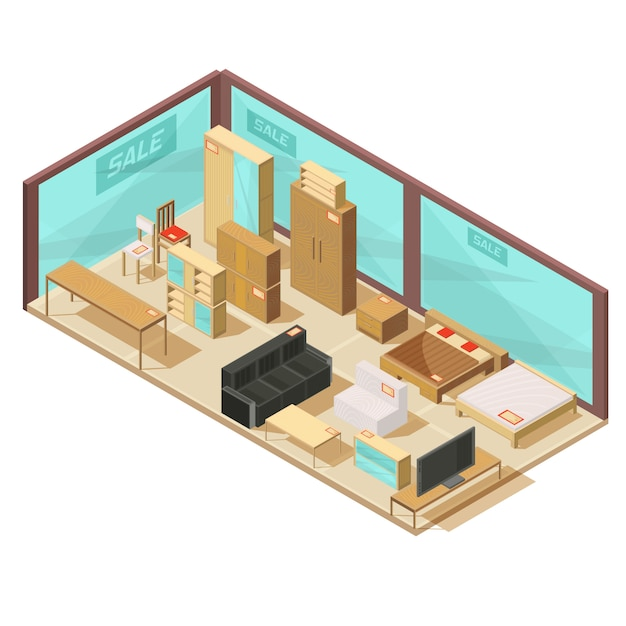 Isometric furniture store with glass walls and wall cabinets tables sofas and double beds Free Vector