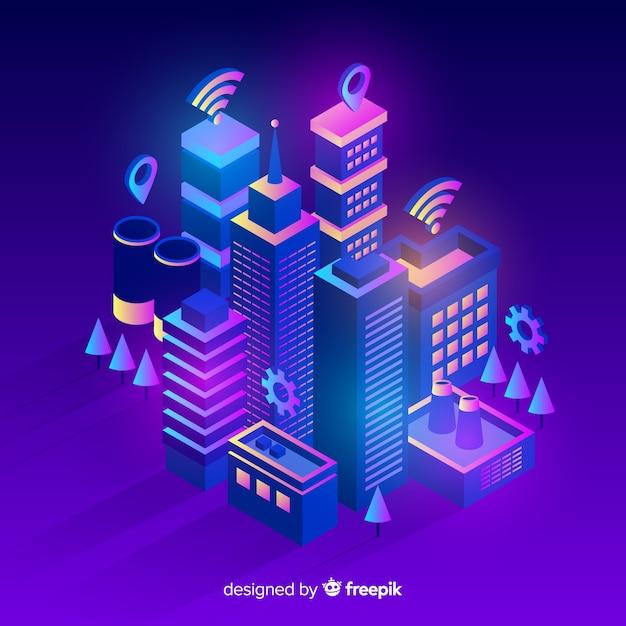 Isometric futuristic city background Free Vector