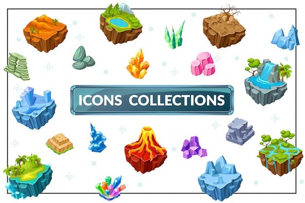 Composizione isometrica della natura del gioco con i minerali tropicali delle pietre della cascata del vulcano delle montagne del lago dell'albero delle isole del paesaggio tropicale desertico della foresta di ghiaccio Vettore gratuito