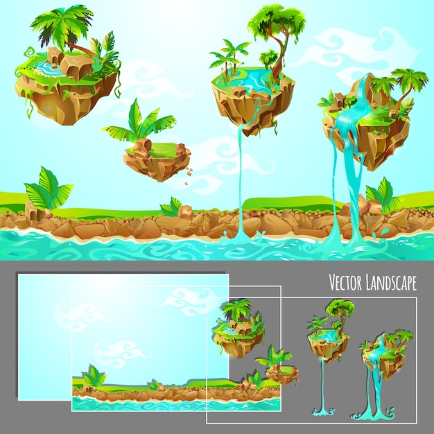 Isometric game tropical nature landscape template Free Vector
