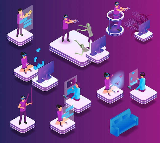 Isometric gaming experience in virtual reality Premium Vector