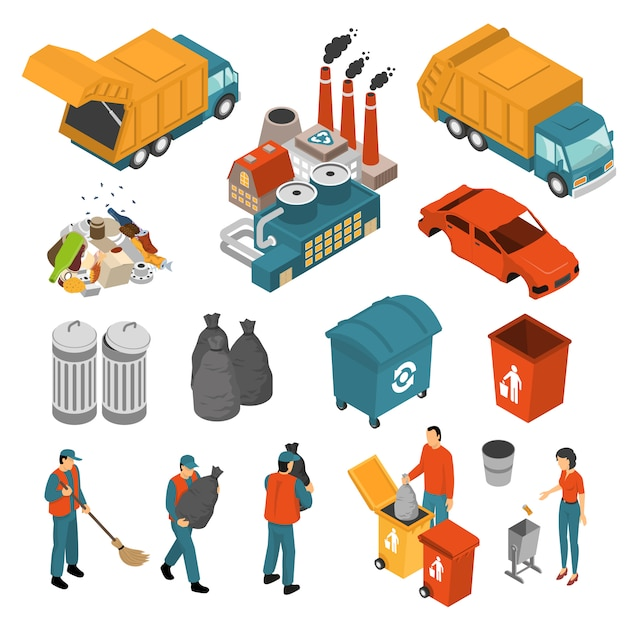 Isometric garbage recycling icon set Free Vector