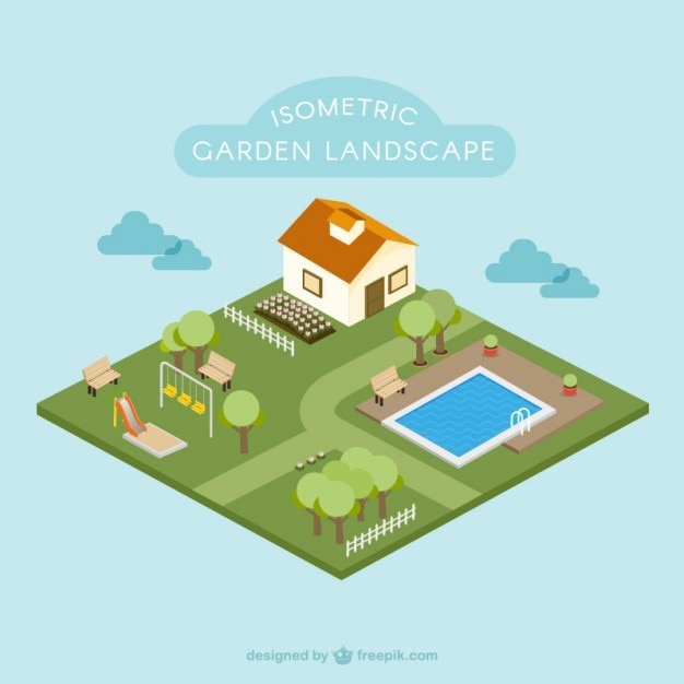 Isometric Garden Landscape Flat Design Vector Free Download