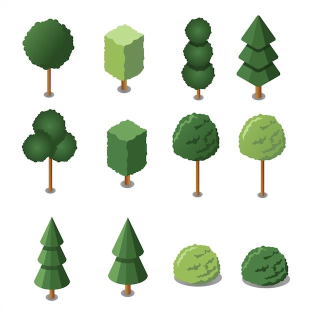 Isometric garden trees set. illustration. isometric flat design. Premium Vector