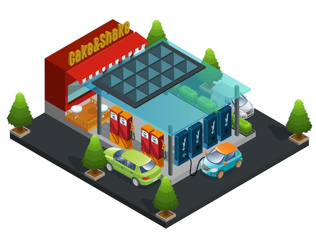 Isometric gas and charger station template Free Vector