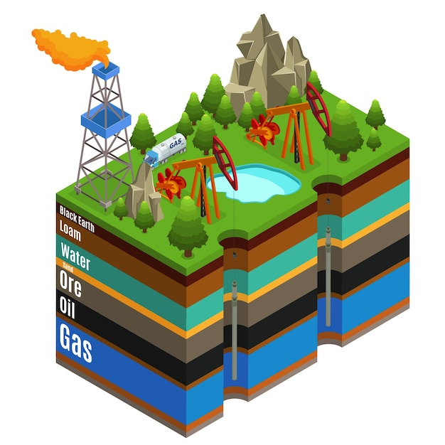 Isometric gas extraction concept with derricks rig truck and different layers of soil isolated Free Vector