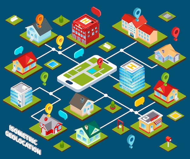 Isometric geolocation concept Free Vector