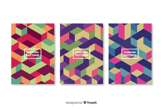 Isometric geometric pattern cover collection Free Vector