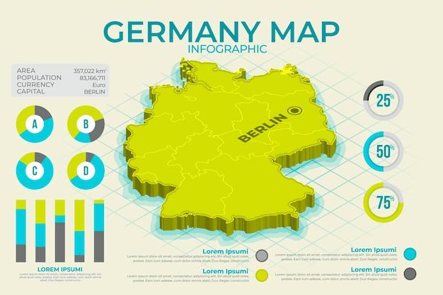 Mappa isometrica della germania infografica Vettore gratuito
