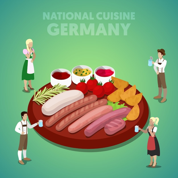 Isometric germany national cuisine with sausage plate and german people in traditional clothes. vector 3d flat illustration Premium Vector