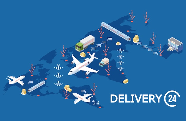 Isometric global logistic concept, delivery world map illustration Premium Vector