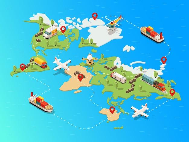 Modello di rete logistica globale isometrica con treno drone elicottero aereo nave camion che trasporta merci diverse Vettore gratuito