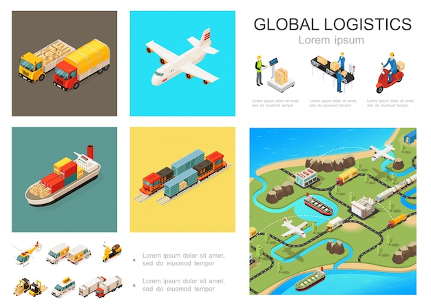 Isometric global logistics composition with trucks airplane ship train helicopter scooter cars forklift packaging conveyor belt courier world distribution network Free Vector