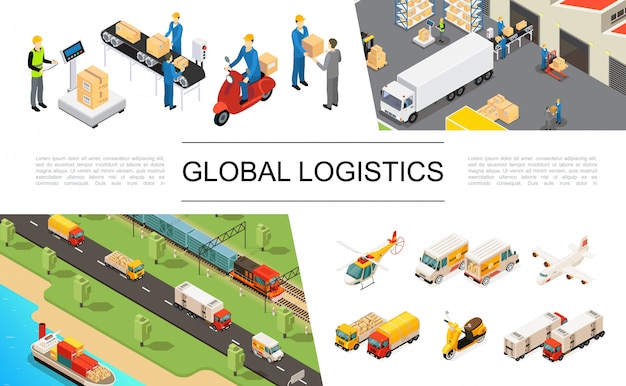 Isometric global logistics elements set with helicopter trucks airplane scooter ship train warehouse storage workers loading and weighing processes Free Vector