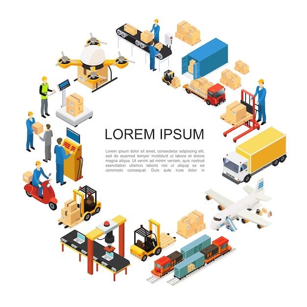 Isometric global logistics round composition with drone airplane train truck transportation forklift assembly and packaging lines weighing loading processes warehouse workers Free Vector