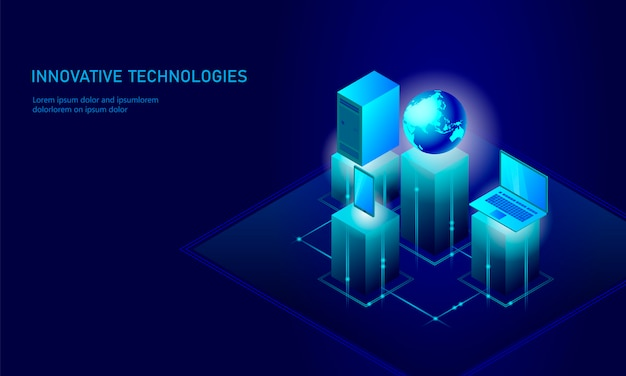 Isometric global networking planet earth business concept, Premium Vector