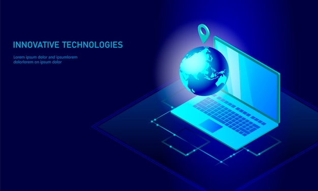 Isometric global networking planet earth business Premium Vector