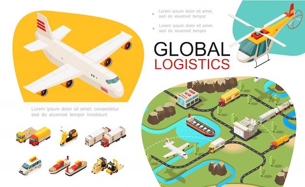 国際物流ネットワーク飛行機ヘリコプタートラックスクーター車船フォークリフトと等尺性のグローバル輸送構成 無料ベクター