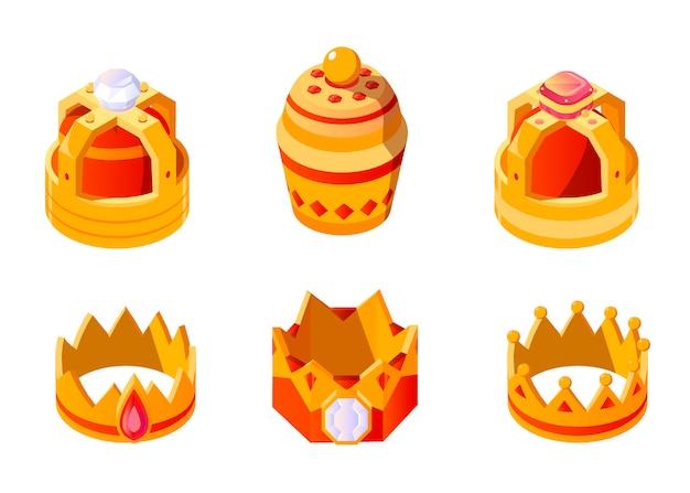 分離されたキングまたはクイーンセットの宝石と等尺性の黄金の王冠。モナークのcrown冠式の頭飾り。ロイヤルゴールドモナーキー中世cor冠式帝国アイコン 無料ベクター
