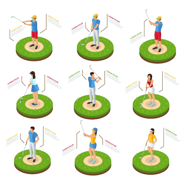 Isometric golfers set of golf players with clubs standing on lawn in various poses isolated Free Vector